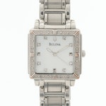 Bulova Mother of Pearl and Diamond Stainless Steel Wristwatch