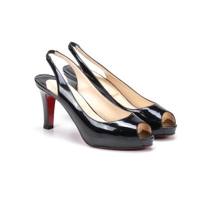 Christian Louboutin Paris Black Patent Leather Peep-Toe High Heel Slingbacks