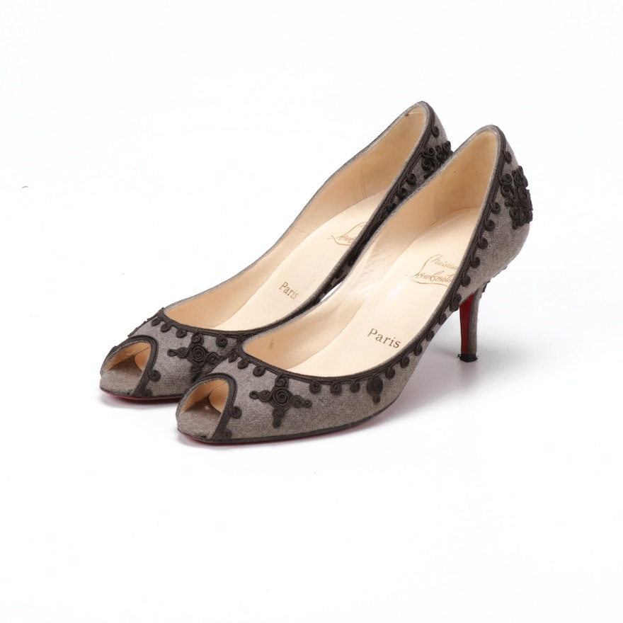 Christian Louboutin Paris Soutache Wool Peep-Toe High-Heel Pumps
