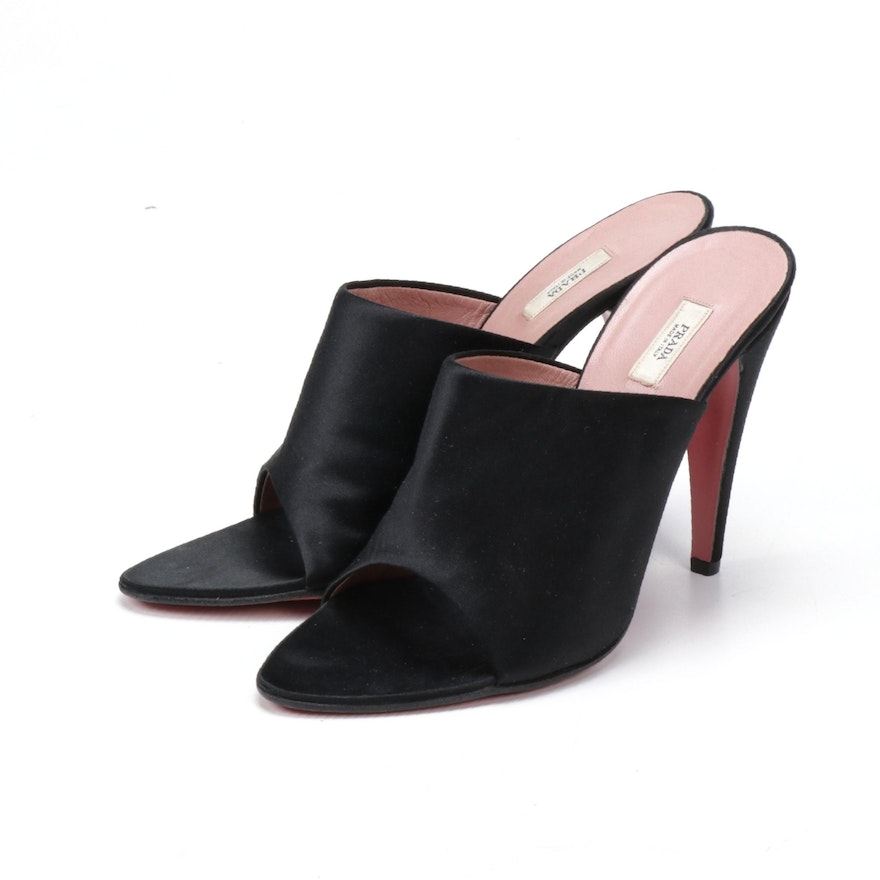 Prada Black Satin High Heel Open Toe Mules