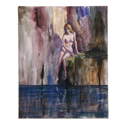 "R. Zwickel Oil Painting ""Blue Lagoon"""