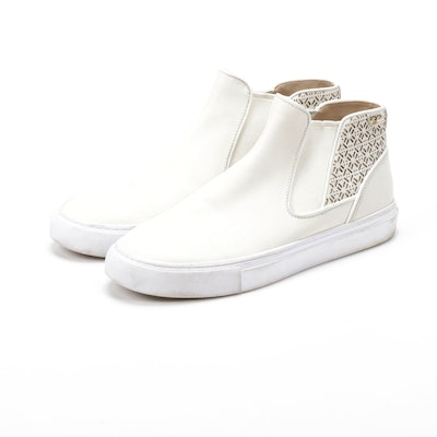 Tory Burch White Leather Laser Cut High-Top Slip-On Sneakers