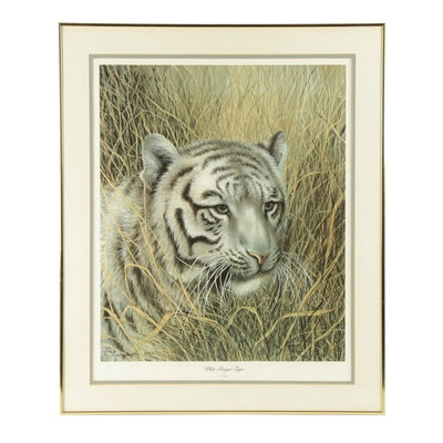 "Imogene H. Farnsworth Offset Lithograph ""White Bengal Tiger"""