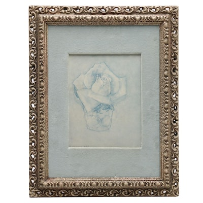 """Lithograph after Piet Mondriaan """"Rose in Tumbler"""""""