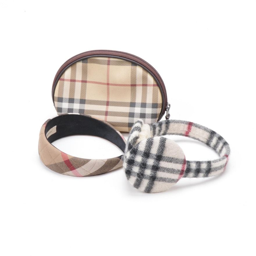 Burberry Headband, Earmuffs and Zippered Pouch
