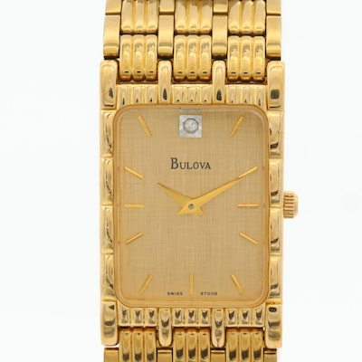 Bulova Quartz Diamond Dial Wristwatch