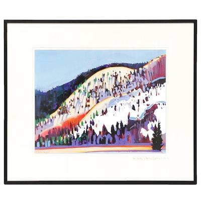 Stephen Quiller Mountain Landscape Gouache Painting