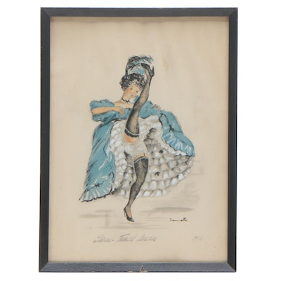 Hand-Embellished Collotype of Can-Can Cabaret Dancer