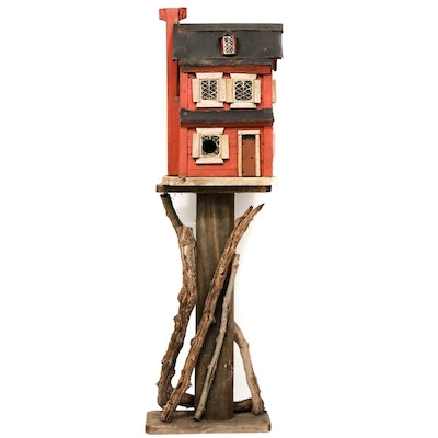 Folk Art Painted Wood Birdhouse and Stand
