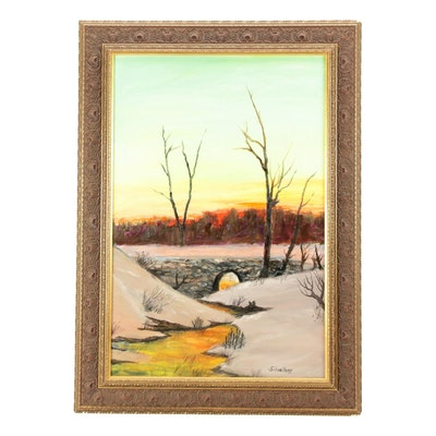 "Robert Schoellkopf Oil Painting ""Winter Light"""