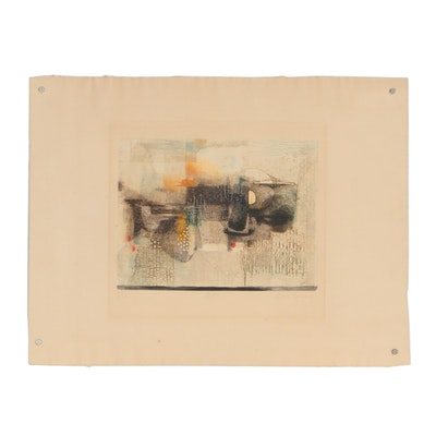 "René Carcan Color Etching ""Aube"", 1969"