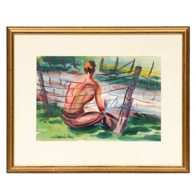 Impressionist Style Figural Watercolor Painting