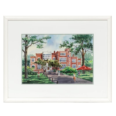 "Donald L. Dodrill Watercolor Painting ""The Jeffrey Mansion"""