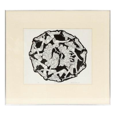 "Bevlyn Simson 1968 Serigraph ""Polynymphs"""
