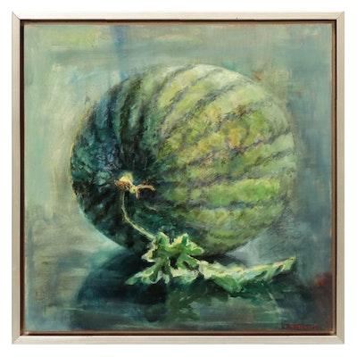 """Carol Stewart Oil Painting """"Melon (Grown by Evan)"""""""