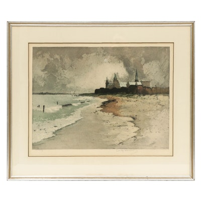 "Luigi Kasimir 1919 Hand-Colored Aquatint Etching ""Kronberg"""