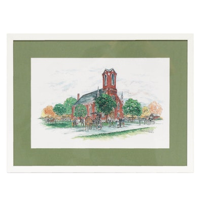 "Edie Mae Herrel Offset Lithograph ""Old Christ Lutheran Church"""
