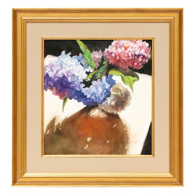 "Becky Taft Watercolor Painting ""Hydrangeas and Shadow"""