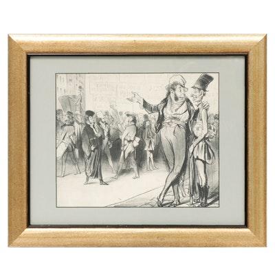 """Honoré Daumier Lithograph """"C'est tout de même flatteur d'avoir..."""""""