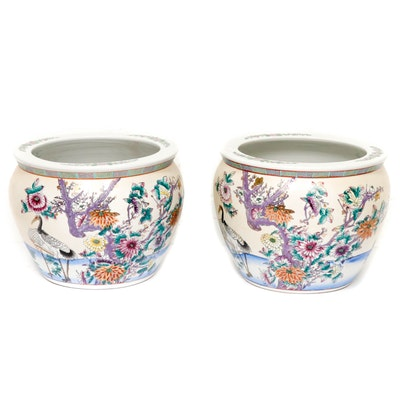 Asian Style Ceramic Planters with Painted Koi Fish Interior