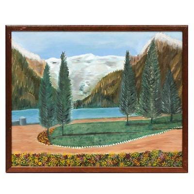 Folk Art Mountain Landscape Oil Painting