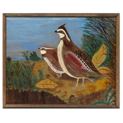 Folk Art Quail Oil Painting