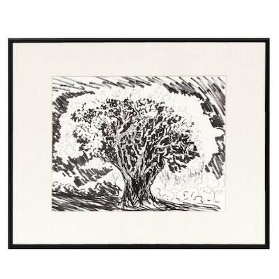 Sandra T. Leukart Landscape Ink Drawing