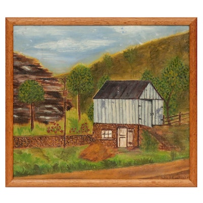 Will E. Englander Folk Art Pastoral Landscape Oil Painting