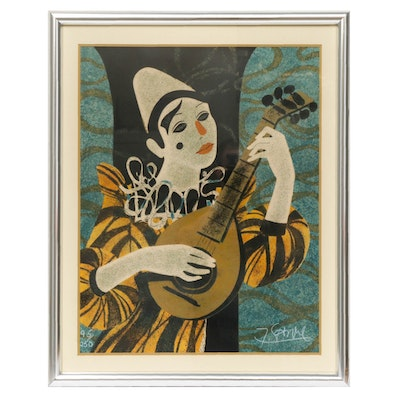 "Yves Ganne Limited Edition Lithograph ""Clown Blanc A La Mandolin"""
