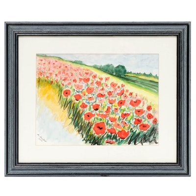 Floral Landscape Watercolor Painting