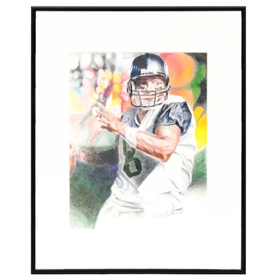 Essie Garfinkel Football Player Color Pencil Drawing