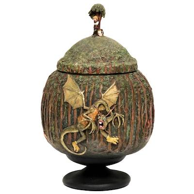 "Joan Wobst Painted Handbuilt Terracotta ""Jabberwocky Pot"""