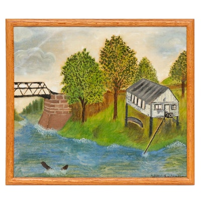 Mid 20th Century Folk Art Landscape Oil Painting