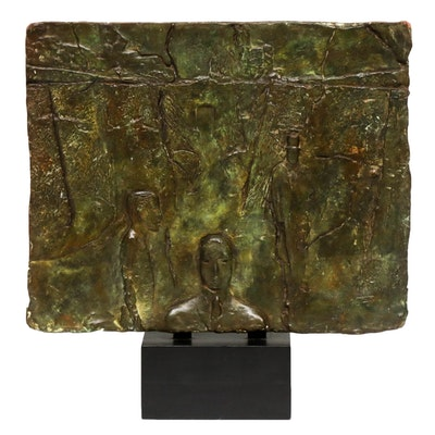 Jack Reeves Abstract Bronze Panel Sculpture