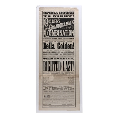 19th Century Lithograph Promotional Poster of Indianapolis Opera House Broadside