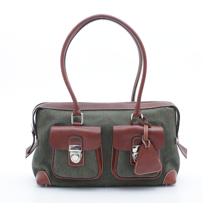 Dooney & Bourke Monogram Canvas and Florentine Leather Satchel