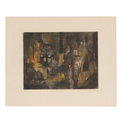"René Carcan Color Etching ""Banlieue"""