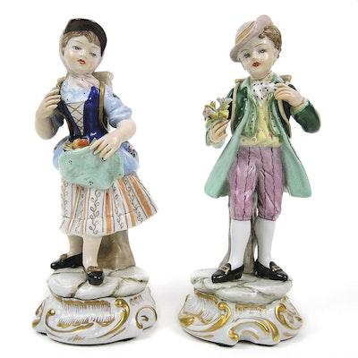 Italian Capodimonte Porcelain Figurines of Boy and Girl