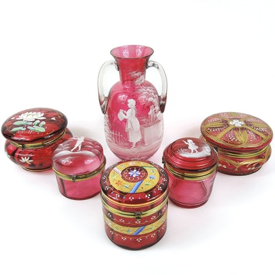Mary Gregory Cranberry Glass and Hand Painted Cranberry Glass Jars