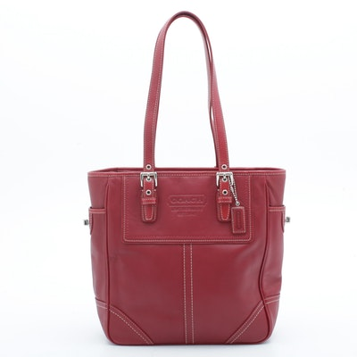Coach Red Leather Tote Shoulder Bag with Contrast Stitching