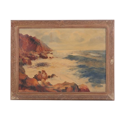 Warren T. Mansfield Coastal Landscape Oil Painting