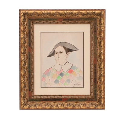 Elmyr De Hory Watercolor Painting In The Style of Picasso