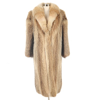 Coyote Fur Full-Length Coat with Shawl Collar