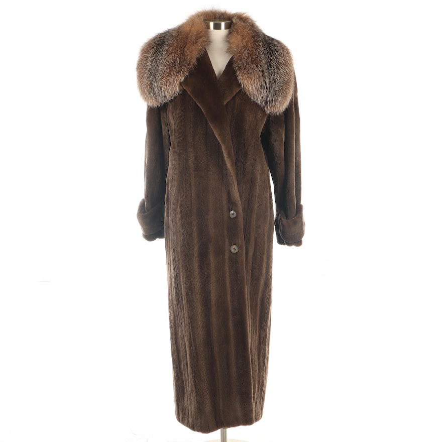 Sheared Mink Fur Coat with Crystal Fox Fur Collar by Larry Weinstein New York