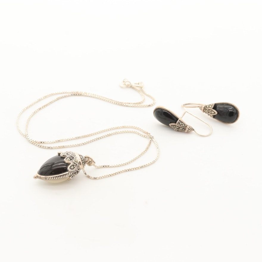 eef5e3852890a Sterling Silver Mother Of Pearl, Black Onyx, Marcasite Necklace and Earring  Set