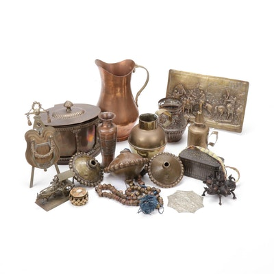 Bronze and Copper Houseware Collections Including Spice Safe