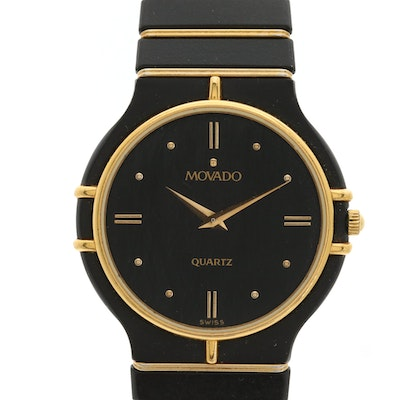 Movado Quartz and PVD Black Coated and Gold Plated Stainless Steel Wristwatch