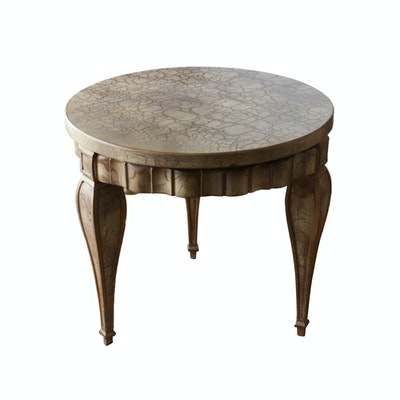 Contemporary Crackle Finish Painted Wooden Side Table