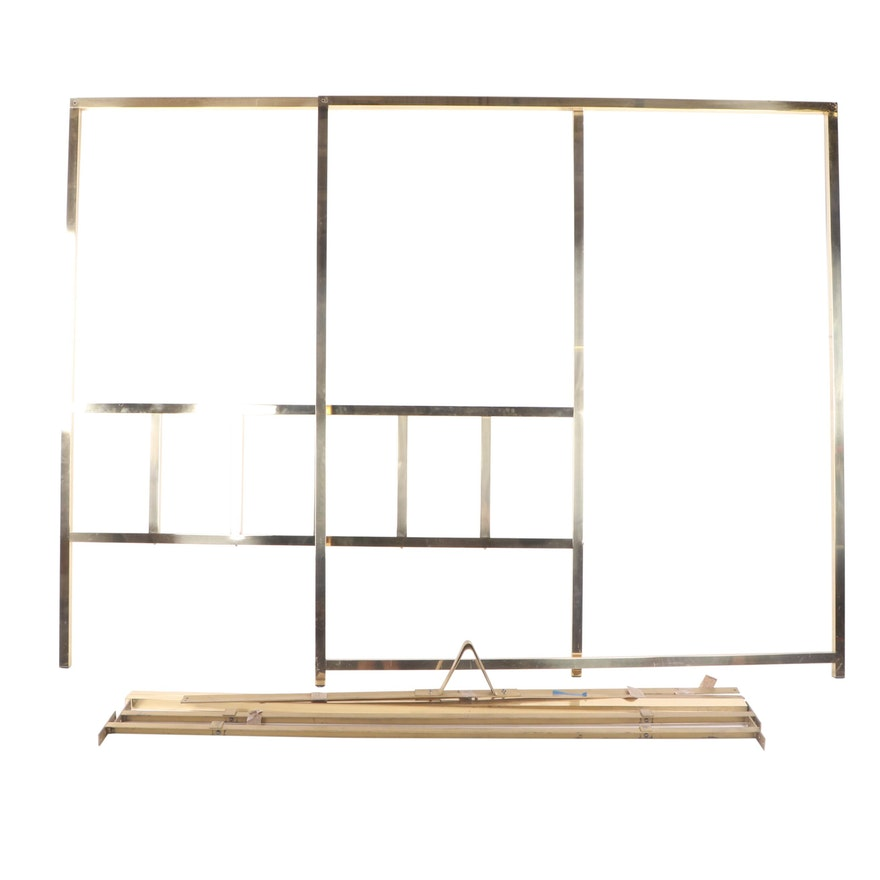 Hollywood Regency Style King Sized Brass Canopy Bed Frame