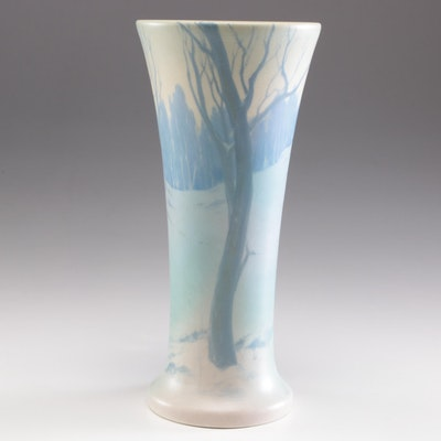 Frederick Daniel Rothenbusch Rookwood Pottery Scenic Vellum Vase, 1908